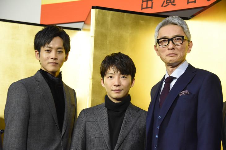 「いだてん ~東京オリムピック噺(ばなし)~」追加出演者発表記者会見の様子。左から松坂桃李、星野源、松重豊。