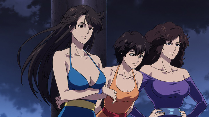 「劇場版シティーハンター <新宿プライベート・アイズ>」より、怪盗3姉妹のキャッツアイ。