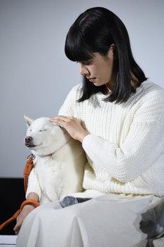 ポチをなでる桜井ユキ。