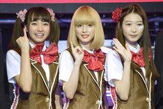 左からチカ役の坂ノ上茜、マリ役の松田るか、アイリ役の岡本夏美。