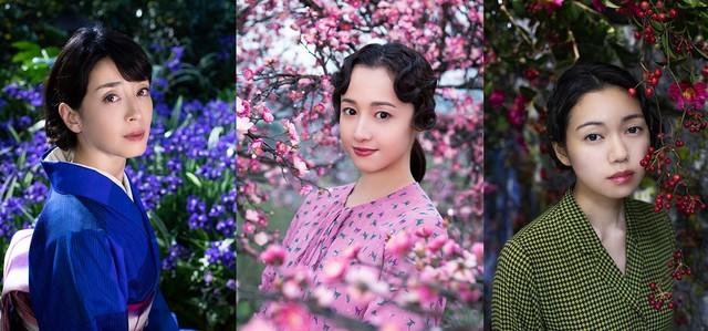 左から宮沢りえ演じる津島美知子、沢尻エリカ演じる太田静子、二階堂ふみ演じる山崎富栄。