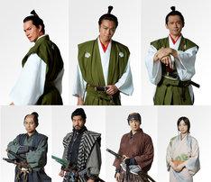 「3人の信長」キャスト。上段左から時計回りに市原隼人、TAKAHIRO、岡田義徳、坂東希、前田公輝、高嶋政宏、相島一之。