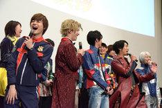 「ルパンレンジャーVSパトレンジャーVSキュウレンジャー」完成披露舞台挨拶の様子。