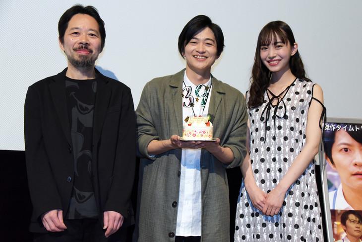 「クロノス・ジョウンターの伝説」公開記念舞台挨拶の様子。左から蜂須賀健太郎、下野紘、井桁弘恵。