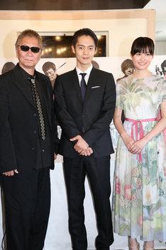 左から三池崇史、窪田正孝、小西桜子。(c)Kazuko Wakayama