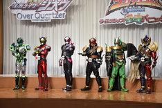 左から仮面ライダーウォズ、仮面ライダーゲイツ、仮面ライダージオウ、仮面ライダーバールクス、仮面ライダーゾンジス、仮面ライダーザモナス。