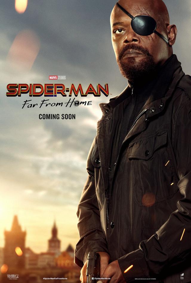 ニック・フューリーの「スパイダーマン:ファー・フロム・ホーム」キャラポスタービジュアル。