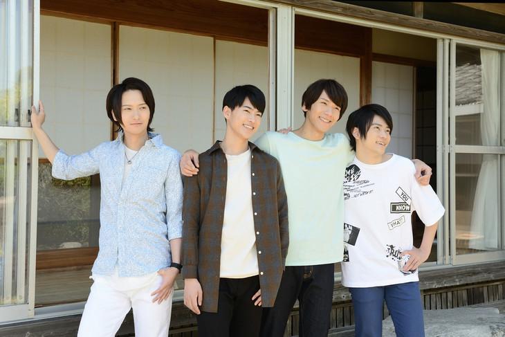 「縁側ラヴァーズ」のキャスト。左から秋葉友佑、三山凌輝、松田岳、笹翼。