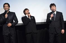 左から阿部進之介、小関裕太、佐藤二朗。