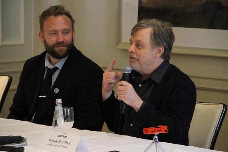 「チャイルド・プレイ」記者会見にて、左からラース・クレヴバーグ、マーク・ハミル。