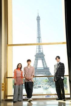 第20回Japan Expoに参加した山本舞香(左)、窪田正孝(中央)、松田翔太(右)。