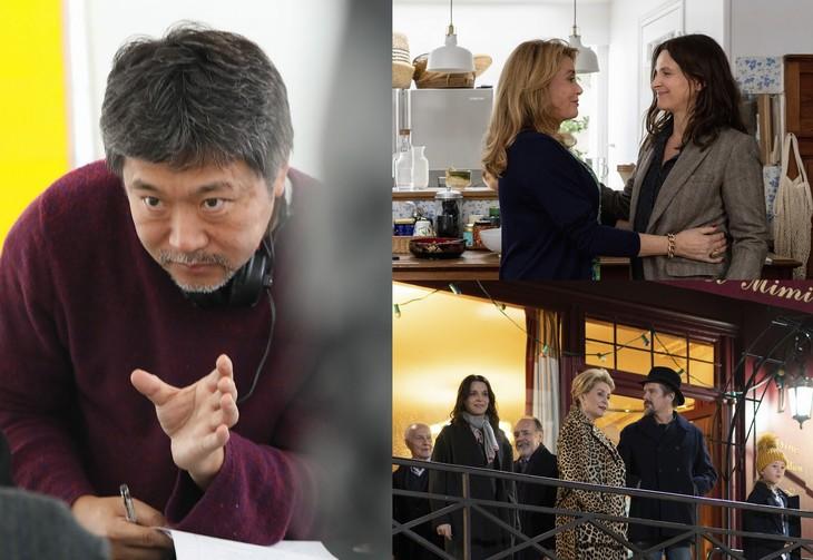 是枝裕和(左)、「真実」場面写真(右上と右下)。