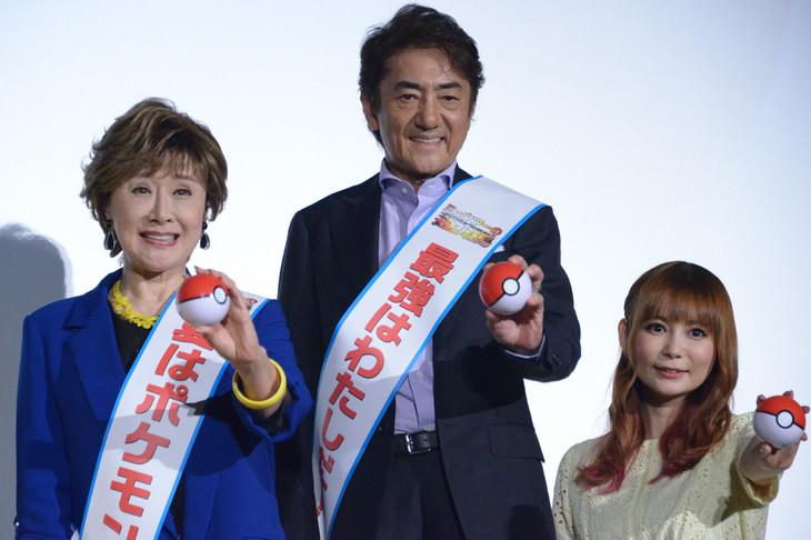 「ミュウツーの逆襲 EVOLUTION」大ヒット舞台挨拶の様子。左から小林幸子、市村正親、中川翔子。