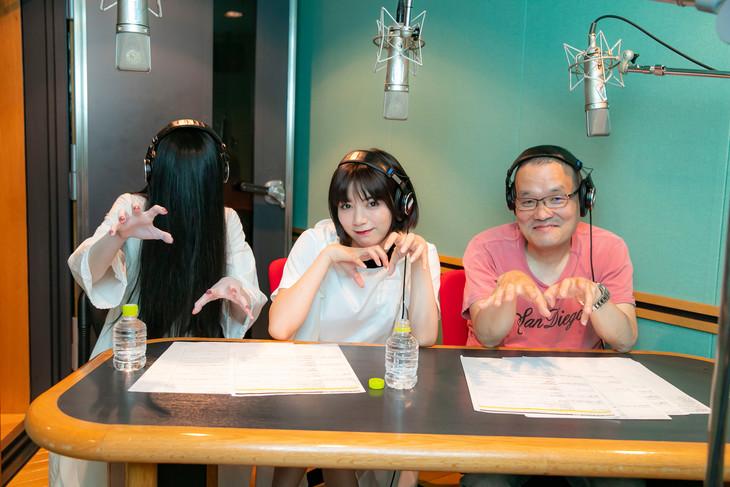 オーディオコメンタリーの様子。左から貞子、池田エライザ、中田秀夫。