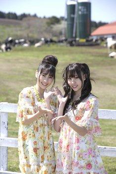 藤江れいな(写真右)は自身のブログで、花火点火式について「日中マザー牧場でのんびり遊んで、夜はれいな達と一緒に綺麗な花火を見ましょう!」とコメントを寄せている。