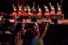 エンタテインメント性の高いモーニング娘。のステージを前に、日本のファンと変わらぬ熱い声援を送る現地のファン(Photo:保坂駱駝)。