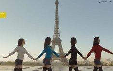 エッフェル塔や凱旋門、セーヌ川などのパリの名所をバックに、時報とシンクロしてダンスする4人の女性たち。