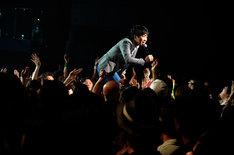 1曲目から全力のパフォーマンスを見せた堂島孝平。