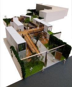 「代々木VILLAGE by kurkku」全体模型。手前がエントランス。奥に見えるカギ型のエリアがcode kurkku。
