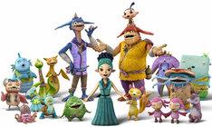 山崎・八木両監督がデザインしたMISIAのキャラクター(中央)と、劇中に登場するキャラクターたちによる「もののけコーラス隊」。