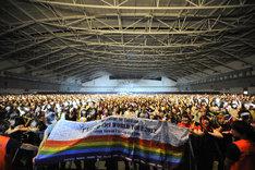 横断幕を用意してメンバーを迎えた台北のファン。