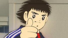 「キリン 大人のキリンレモン」新CM「キャプテン」編のワンシーン。大空翼はサッカー日本代表の新ユニフォームを着用して登場。(c)高橋陽一 / 集英社(c)ガレージフィルム(c)2009JFA