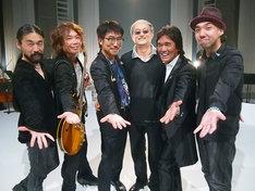 """写真左から、河村""""カースケ""""智康、小倉博和、亀田誠治、石田弘エグゼクティブディレクター、松崎しげる、皆川真人。"""