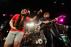 「姫君Shake!」を披露する池田貴史(写真左)と斉藤和義(右)。