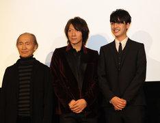 「YOSHII CINEMAS」舞台挨拶に登壇した品川徹(写真左)、吉井和哉(中央)、大野拓朗(右)。