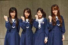 初の冠ラジオ番組を喜ぶ乃木坂46のメンバー。左から斉藤優里、桜井玲香、若月佑美、松村沙友理。