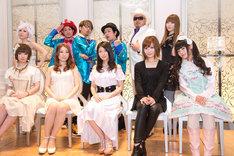 富永TOMMY弘明(写真上段右から2番目)は8月末に開催される国内最大級のアニメソングイベント「Animelo Summer Live 2013 -FLAG NINE-」に出演する(写真は「Animelo Summer Live 2013 -FLAG NINE-」記者会見の様子)。