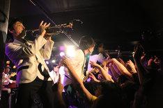オーディエンスの至近距離で演奏する東京スカパラダイスオーケストラ。