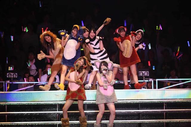「雨の動物園」を披露するAKB48研究生の内山奈月、梅田綾乃、橋本耀、前田美月、村山彩希、湯本亜美、NMB48研究生の大段舞依、HKT48研究生の谷真理佳。(c)AKS