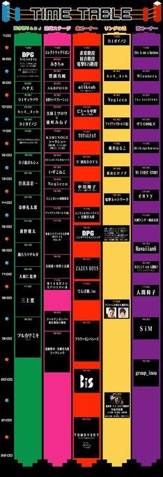 「AOMORI ROCK FESTIVAL '13~夏の魔物~」タイムテーブル