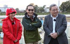 左から百田夏菜子、タモリ、藤井義晴教授。 (c)テレビ朝日
