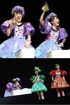 最下位になってしまった紫担当の百田夏菜子が罰ゲームの青汁の炭酸割りを飲む様子。