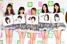 LINEとのコラボプロジェクト キックオフイベントに出演した小嶋陽菜、渡辺麻友、高橋みなみ、松井珠理奈、松井玲奈。