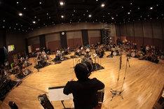 ドラムオーケストラのレコーディング風景。