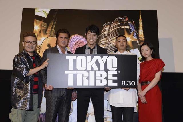 映画「TOKYO TRIBE」完成披露試写会の様子。