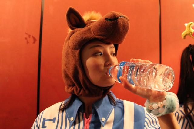 水を飲む馬(咲良菜緒)。