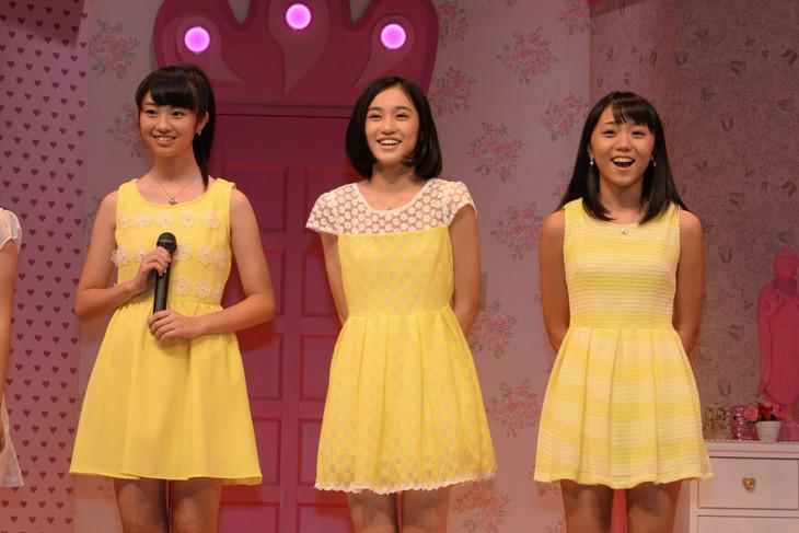 スマイレージ新メンバー。左から相川茉穂、佐々木莉佳子、室田瑞希。