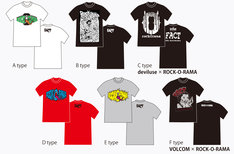 「FACT 15th Anniversary 『Rock-O-Rama』」来場者に配布されるTシャツのデザイン一覧。