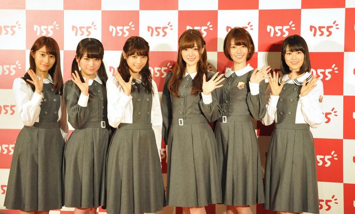 トークアプリ「755」の新CM発表会見に出席した乃木坂46。