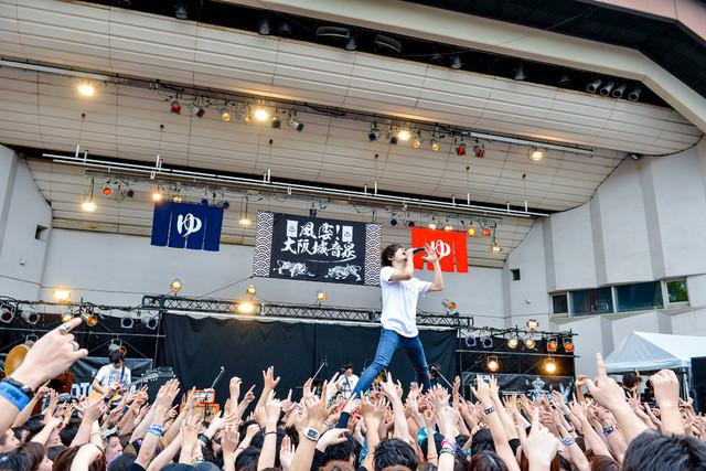 観客の上に立つヤマサキセイヤ(Vo, G / キュウソネコカミ)。(撮影:河上良)
