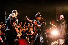 左から和嶋慎治(人間椅子)、大槻ケンヂ(筋肉少女帯)、鈴木研一(人間椅子)。(Photo by SUNAO HONDA)