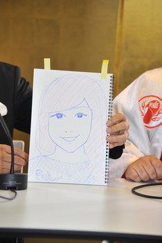 バイト君自らが描いた、新妻「まきさん」の似顔絵。