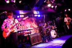 花たんのサポートメンバー。左から白須賀悟(G)、有木竜郎(Key)、中江太郎(Dr)、高原未奈(B)。(Photo by yuco)