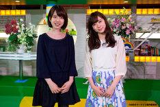 弘中綾香アナウンサー(左)と渡辺美優紀(右)。(c)AKBホラーナイト製作委員会