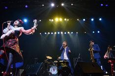 「ホール・ニュー・ワールド」を披露するチャラン・ポ・ランタンとスカパラ茂木欣一&谷中敦。