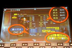 武将・吉川晃司のステータス画面。